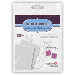 "3D Foam Squares 1/2"" White 126"