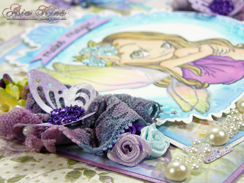 Stampendous purple crushed glass glitter and 3D DODZ