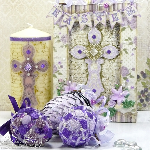 Easter Home decoration Trio purple eggs with glitter by Asia King