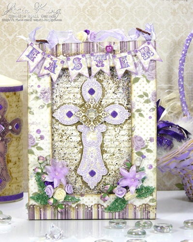 Maja Design Fika, cream purple green Spring altered frame decor with flowers and pearls Stampendous glitter Easter banner