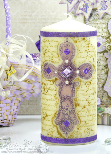 Stampendous Baroque Cross Easter altered candle with tissue Crafty Power Tape glitter ribbon