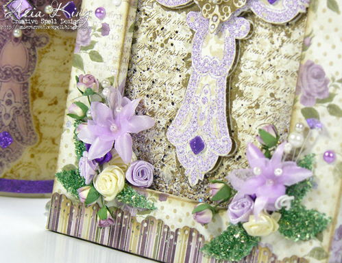 3D Foam squares Spring flower sprays foam leaves with glass glitter