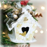 Shabby chic handmade DIY Christmas tree birdhouse ornament