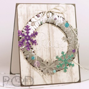 Peace Wreath Using Photo Corners and 3D Foam Snowflakes by Lisa Adametz