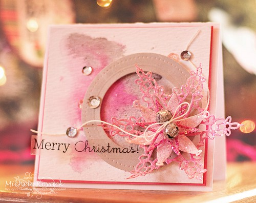 Pink Merry Christmas Card by Michele Kovack