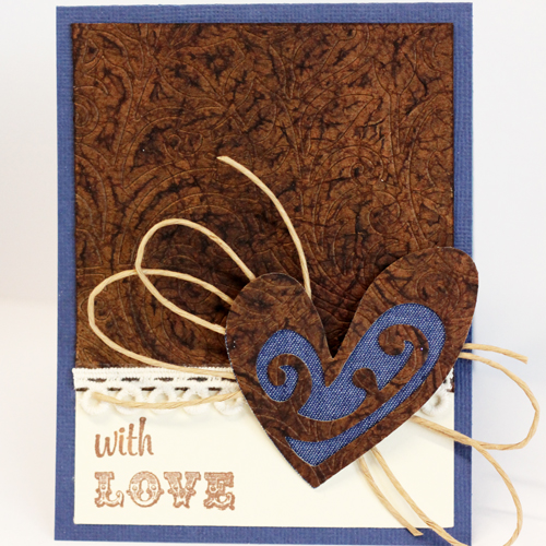 Faux Embossed Leather Technique Tutorial - With Love Card by Angela Ploegman