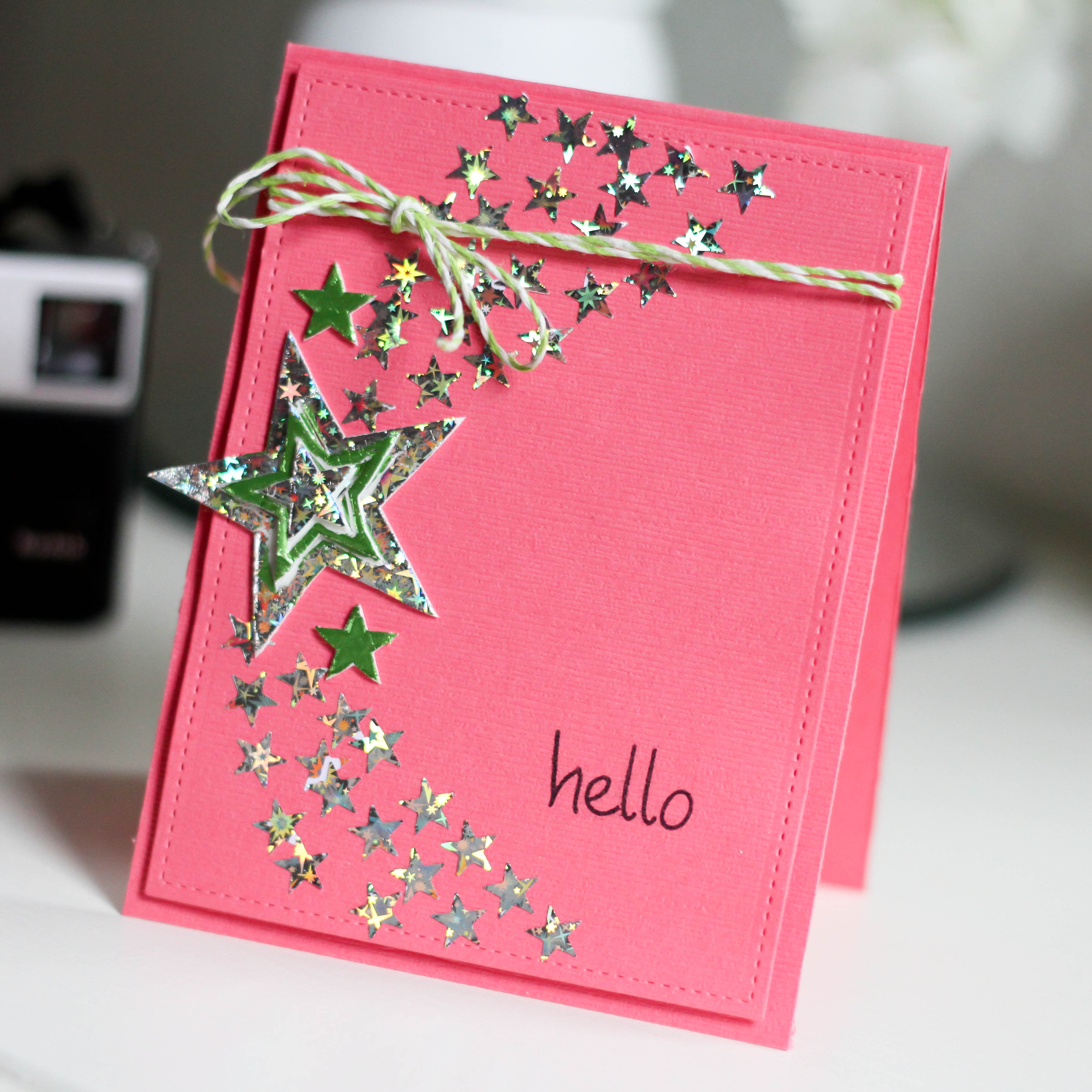How to make scrapbook easy - Quick Easy Foiled Star Card
