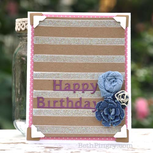 Glitter Striped Happy Birthday Card by Beth Pingry for Scrapbook Adhesives by 3L