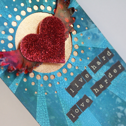 Live Hard, Love Harder Tag with 3D Foam Hearts by Angela Ploegman