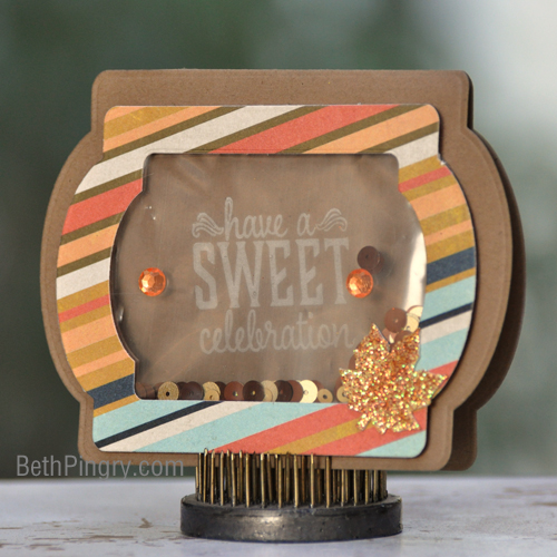 Sweet Celebration Window Shaker card by Beth Pingry