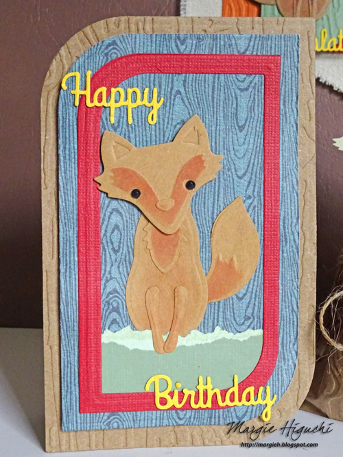 Woodland Happy Birthday Shaped Card by Margie Higuchi