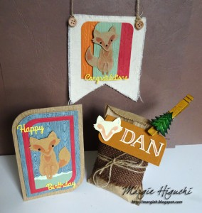 Woodland Happy Birthday Shaped Card Ensemble Angle Shot by Margie Higuchi