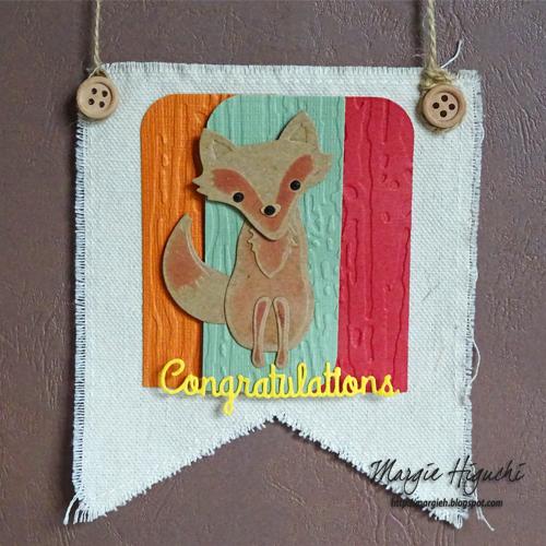 Woodland Forest Fox Birthday Canvas Pennant by Margie Higuchi