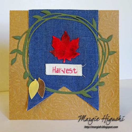 Harvest Embossed Card Using 3D Designer Foam Shapes by Margie Higuchi