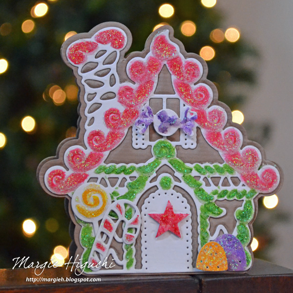 Gingerbread House Shaped Card Tutorial by Margie Higuchi