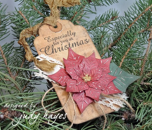 Poinsettia Tag tutorial by Judy Hayes for Scrapbook Adhesives by 3L