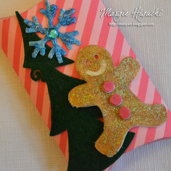 3D Foam Shapes Holiday Pillow Box Tutorial Close Up by Margie Higuchi