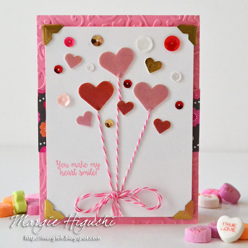 Make My Heart Smile with 3D Foam Hearts and Pigment Powder Card Tutorial by Margie Higuchi
