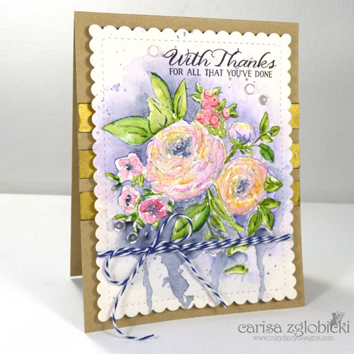 With Thanks Watercolor and Pigment Powder Gold Card by Carisa Zglobicki