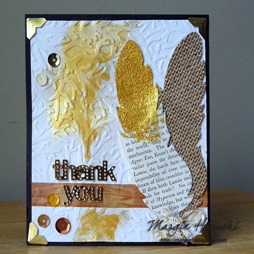 Pigment Powder Gold Feathered Thank You Card by Margie Higuchi