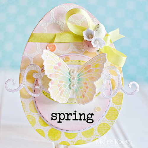 Spring! Egg Shaped Card by Michele Kovack