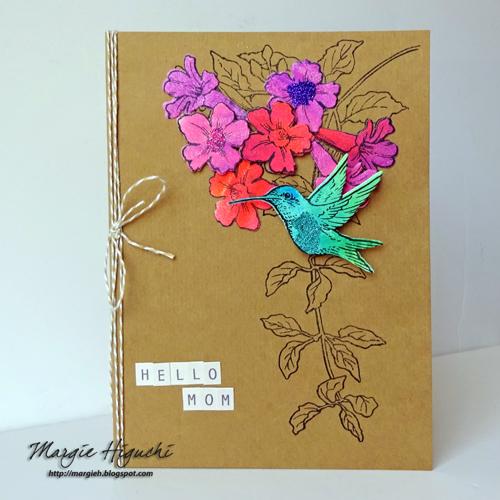 Hello Mom Hummingbird Card by Margie Higuchi