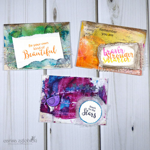 Mixed Media ATC cards by Carisa Zglobicki