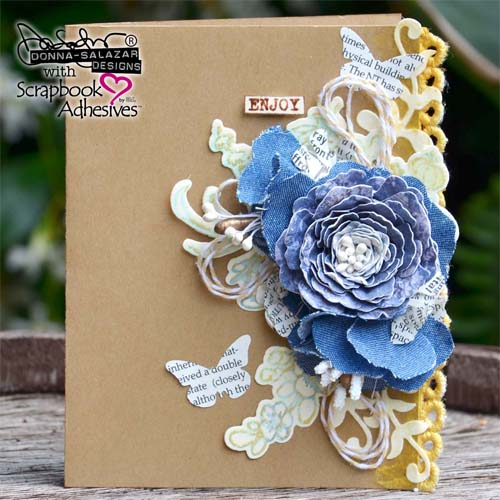 DIY Denim Flower Enjoy Card by Donna Salazar