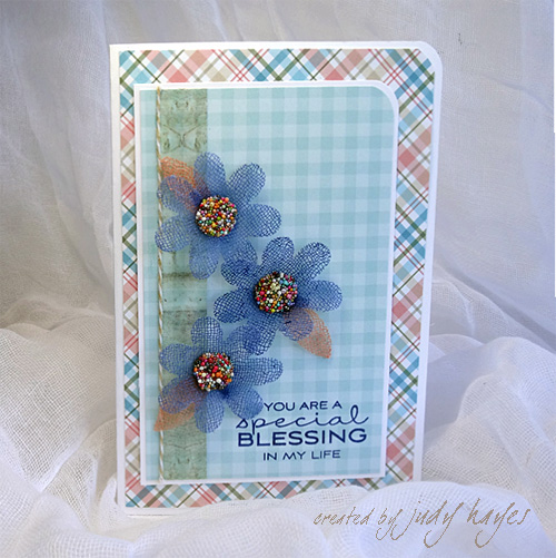 Special Blessing Gauze Flower Card by Judy Hayes for Scrapbook Adhesives by 3L and MFT Blog Hop JUL16
