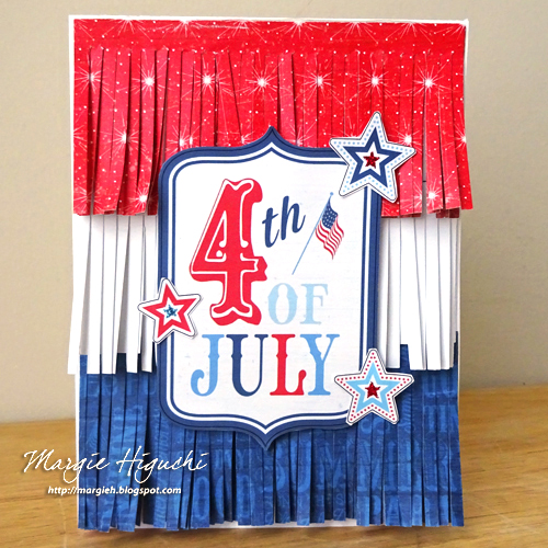 Fringed 4th of July card by Margie Higuchi for Scrapbook Adhesives by 3L