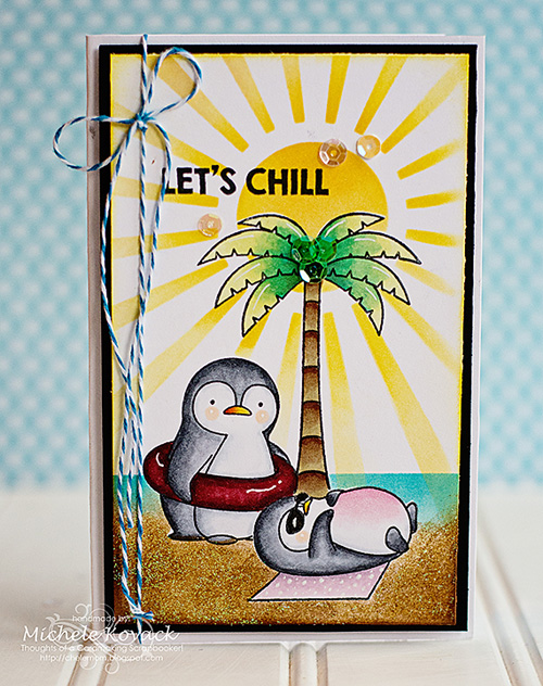 Let's Chill Card by Michelel Kovack for Scrapbook Adhesives by 3L and MFT Stamps Blog Hop JUL16