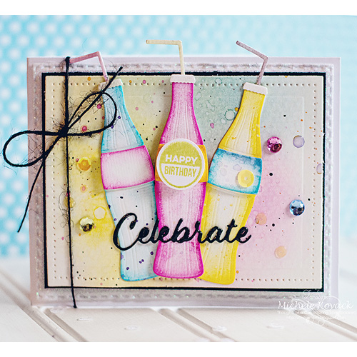 Soda Celebrate Card by Michele Kovack for Scrapbook Adhesives by 3L and MFT Blog Hop JUL16