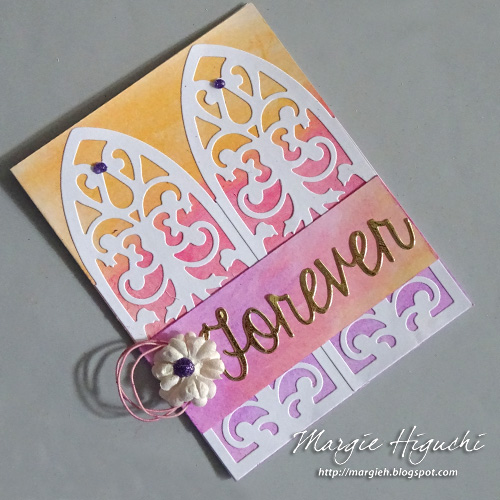 Forever Wedding Card2 Tutorial using Adhesive Sheets by Margie Higuchi for Scrapbook Adhesives by 3L