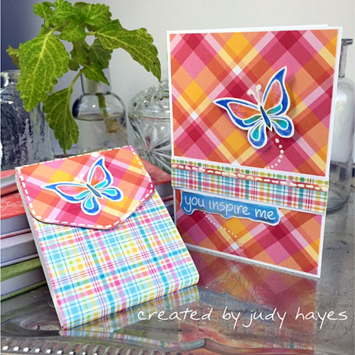 Butterfly Card and Notebook Ensemble by Judy Hayes for Scrapbook Adhesives by 3L w Lawn Fawn Blog Hop Sept 2016