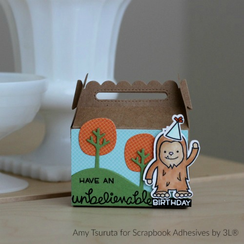 Unbelievable Birthday Treat Box by Amy Tsuruta for Lawn Fawn Blog with Scrapbook Adhesives by 3L