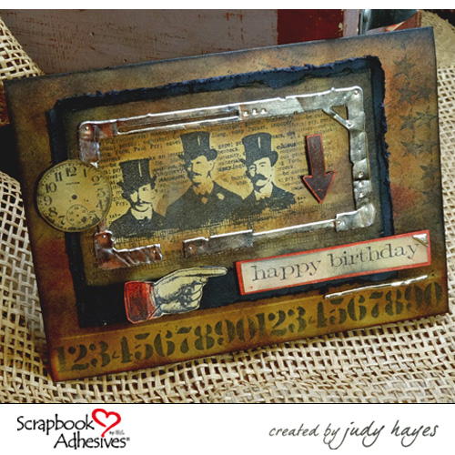 Masculine Birthday Card by Judy Hayes for Scrapbok Adhesives by 3L Blog