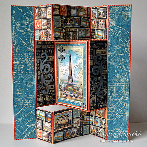 Paris Tri-Fold Scrapbook Page by Margie Higuchi for Scrapbook Adhesives by 3L w Graphic45 Blog Hop OCT16