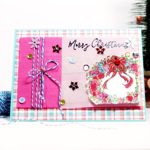 Pink Christmas Card by Lisa Adametz