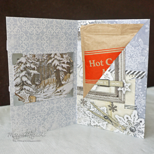 Let It Snow Pocket Card w Hot Cocoa INSIDE by Margie HIguchi for Scrapbook Adhesives by 3L