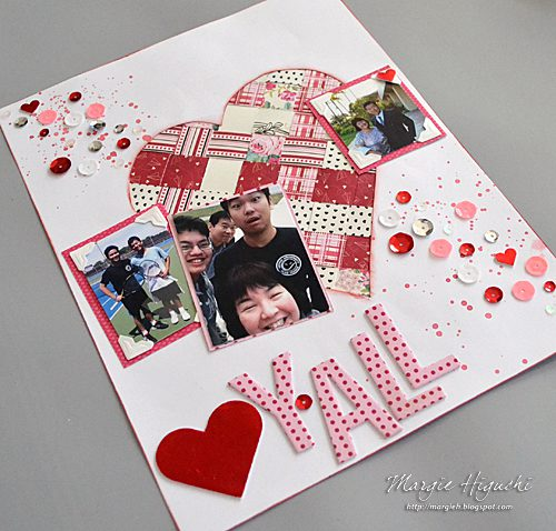 Woven Heart Valentine Scrapbook Page CloseUp by Margie Higuchi for Scrapbook Adhesives by 3L