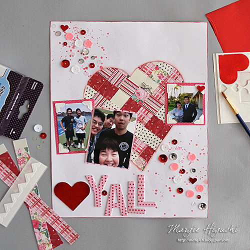 Woven Heart Valentine Scrapbook Page by Margie Higuchi for Scrapbook Adhesives by 3L