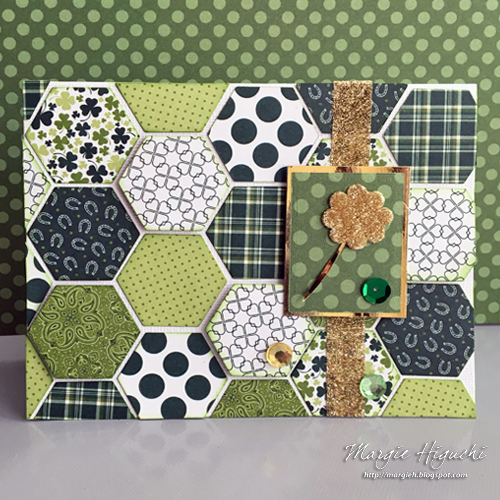 Dimensional Hexie Shamrock Card by Margie Higuchi for Scrapbook Adhesives by 3L