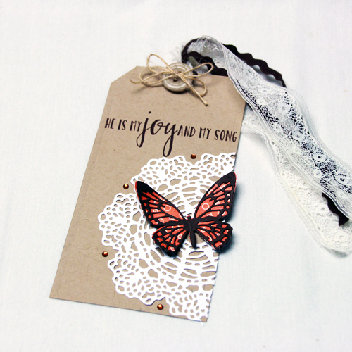 Doily + Butterfly Tag by Tami Mayberry for Scrapbook Adhesives by 3L