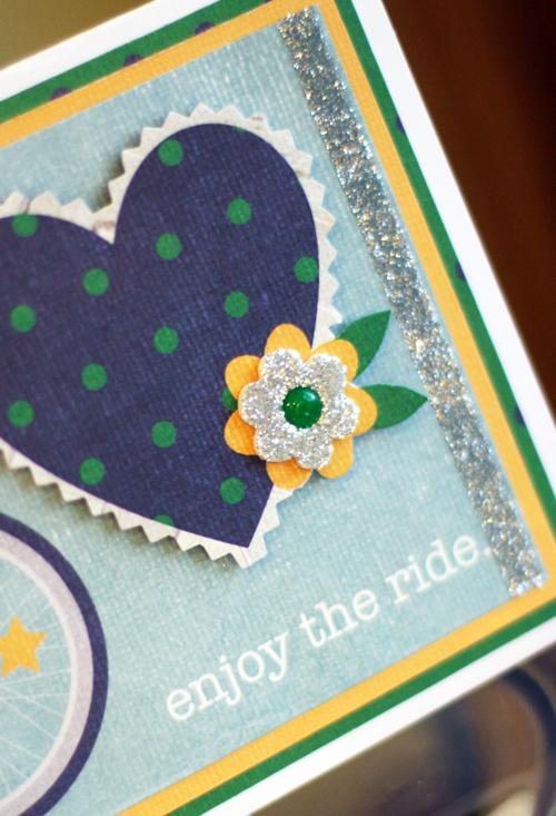 Bike card glitter flower