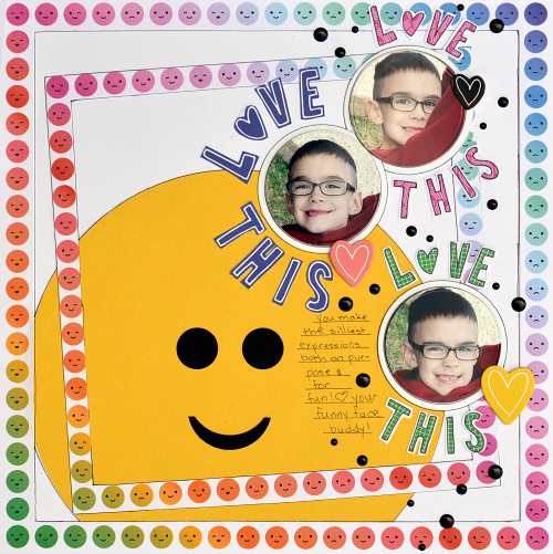 Emoji Scrapbook Layout using E-Z Runner Micro Refillable Dispenser from Scrapbook Adhesives by 3L