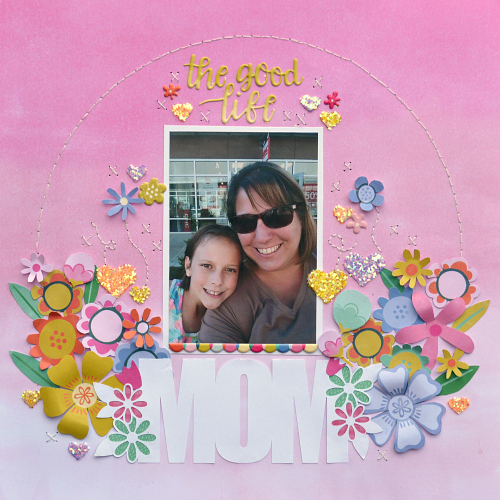 Mom Scrapbook Layout featuring florals and Scrapbook Adhesives by 3L