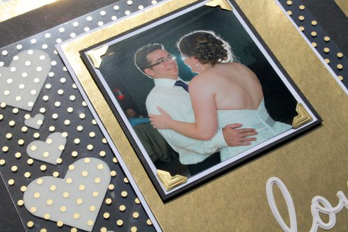Golden Wedding Layout with 3D Foam Hearts Tutorial by Tracy McLennon for Scrapbook Adhesives by 3L