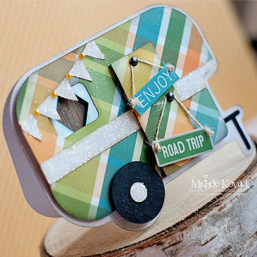 Shaped Camper Card by Michele Kovack for Scrapbook Adhesives by 3L