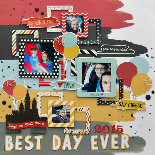 Disney Scrapbook Layout featuring Adhesive Lines, Foam Squares, and E-Z Runner by Scrapboook Adhesives by 3L