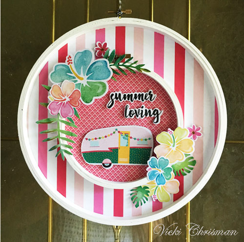 Summer Loving Embroidery Hoop Wreath Tutorial by Vicki Chrisman for Scrapbook Adhesives by 3L